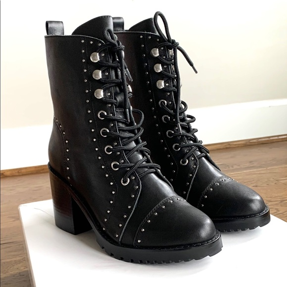 Sol Sana Shoes - NEW SOL SANA Danno Combat Boot Black Leather Stud